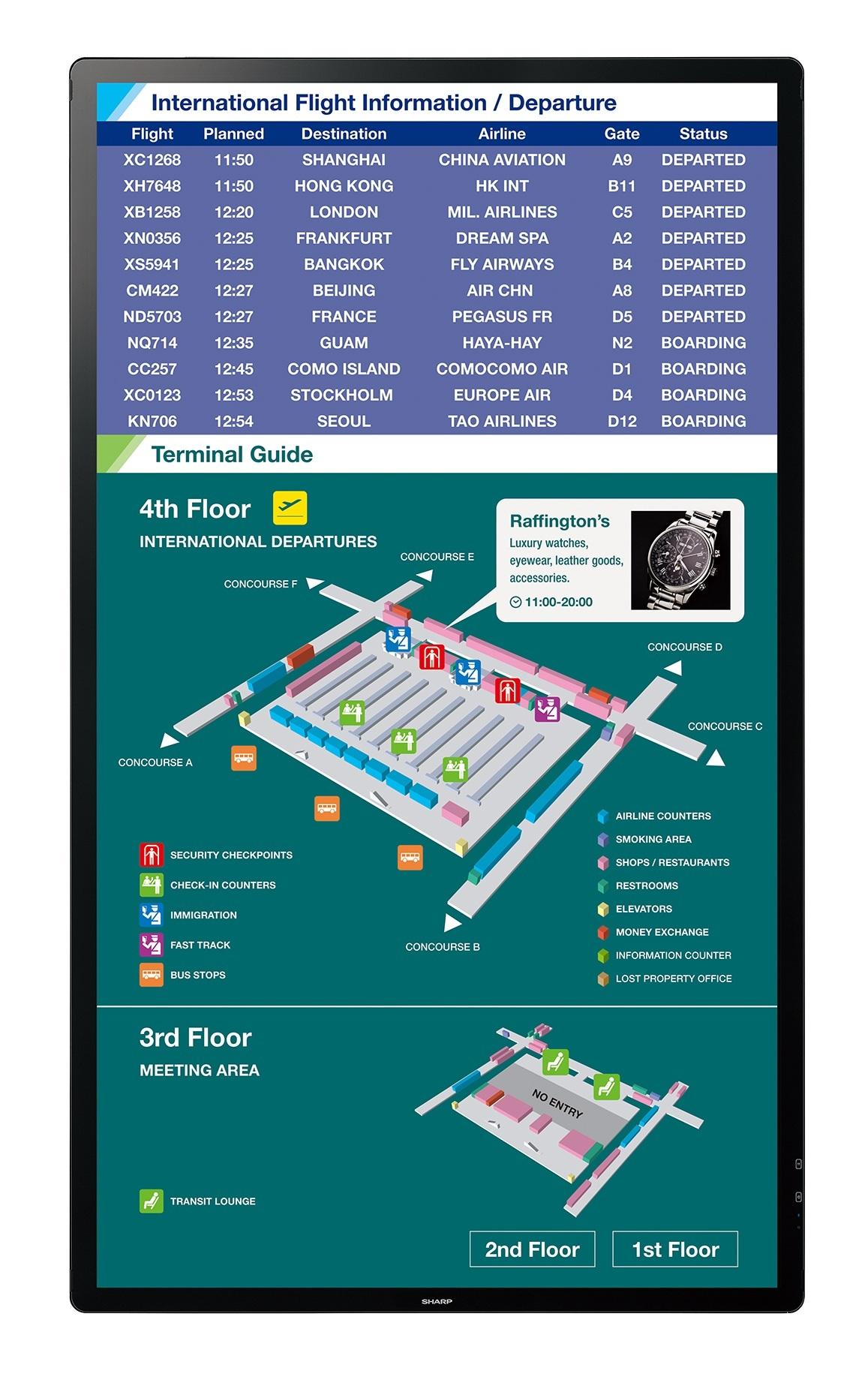 Sharp-PN-L805H_airport_wayfinding